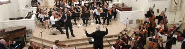 Violin soloist Mark Dorosheff performing with the CCO March 22, 2015 Mozart's Rondo in C K.373 at Crozet Baptist Church